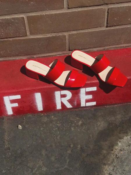 """""""Intentionally __________."""" Blank Scamp Sandals - Red"""