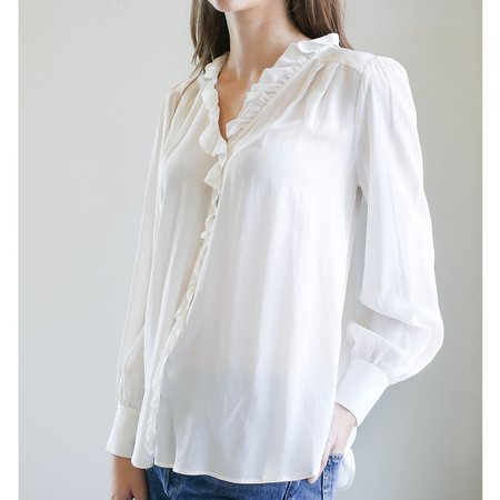 Sea NY Solange Button Down Ruffle Blouse - Cream