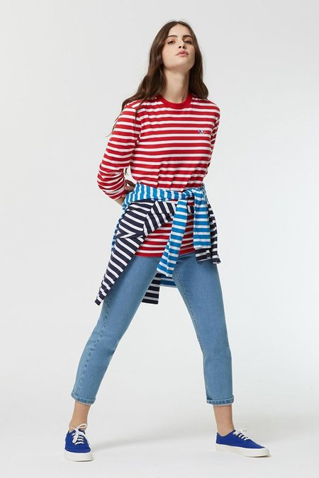 Maison Kitsuné Marin Stripe Top - Red/White