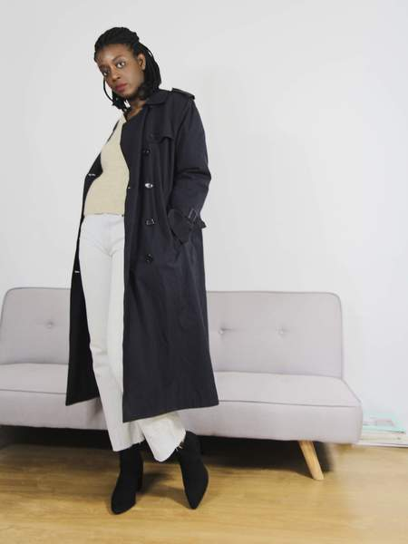 Bird On A Wire Vintage Classic Trench Coat - Navy