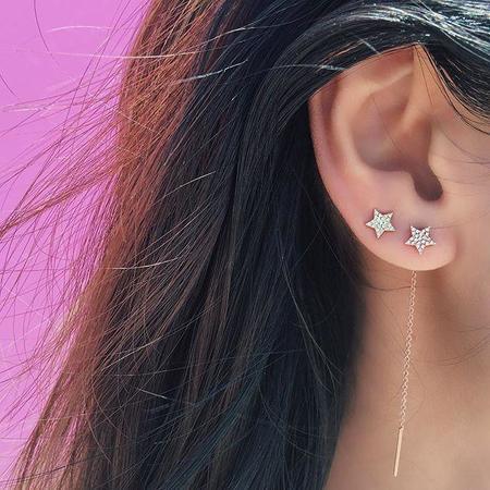 EF Collection Diamond Star Stud Earring - 14k Yellow Gold
