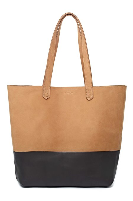 Nisolo Lori Color Block Leather Tote - Sand/Black