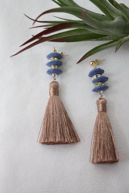 Sjo Jewelry Mini Pagoda Tassel Earrings - Mocha