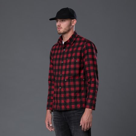 Freemans Sporting Club Waxed Cotton Chore Jacket - Red Plaid