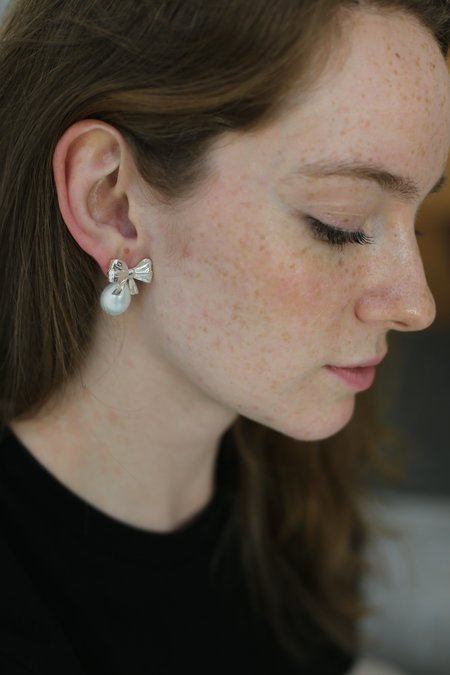 Mirit Weinstock Bow and Pearl Earrings