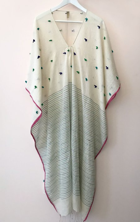 Two Caftan with tassels - Natural white/green/blue