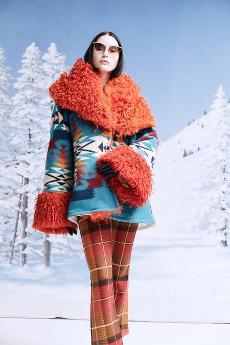 Lindsey Thornburg + Pendleton Tucson Shearling Turquoise Trench Cloak
