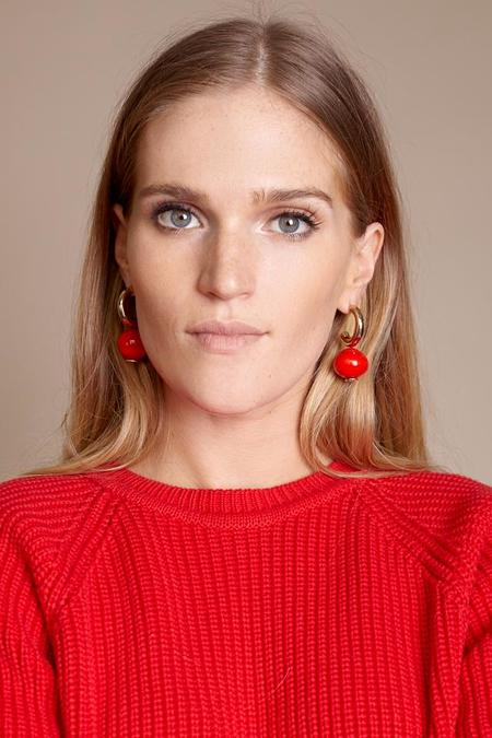 Modern Weaving C Curve Hoops - Cherry