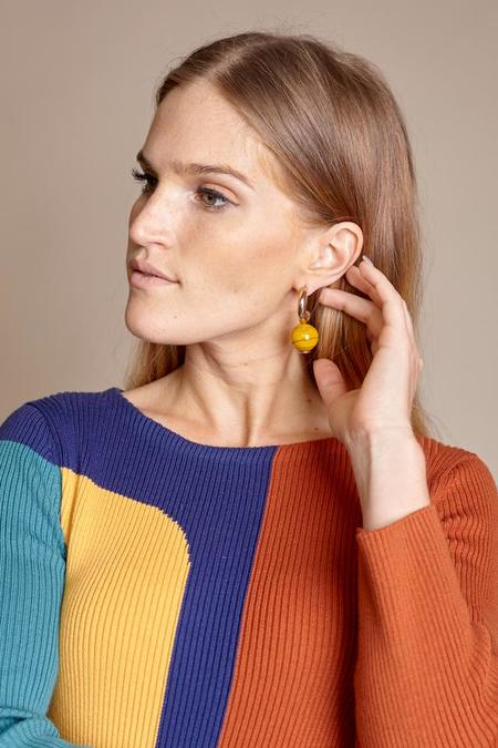 Modern Weaving C Curve Hoop Earrings - Mustard