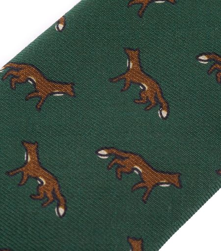 Drake's Wool Tie - Green Fox Print