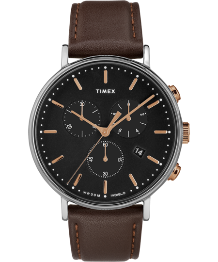 Timex Archive Fairfield Chronograph 41mm Watch - Dark Brown