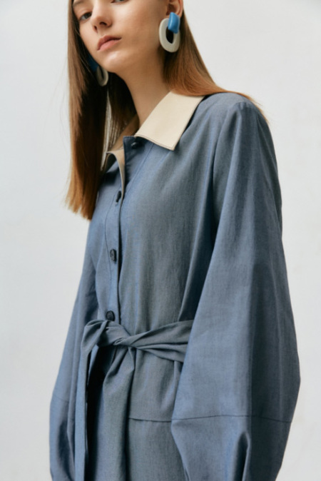 NUVO10 Chambray LONG SHIRTS Dress - Blue