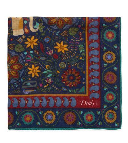 Drake's Wool & Silk Pocket Square - Navy Botanical Elephant Print
