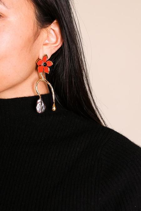 Lizzie Fortunato Poinsettia Vine Earrings