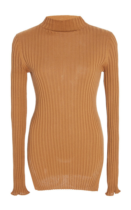 Apiece Apart Second Skin Rib Mock Neck - Cinnamon