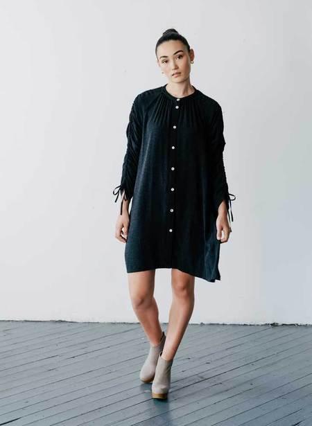 Seek Collective Cy Tile Silk Jacquard Shirt Dress - Black
