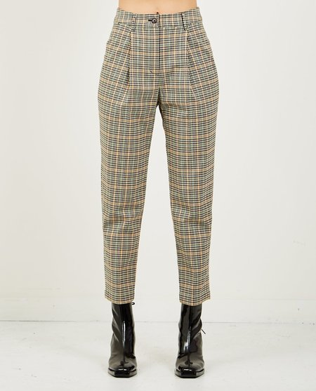 NEUL HIGH RISE CARROT PANT - SAND/BEIGE CHECK