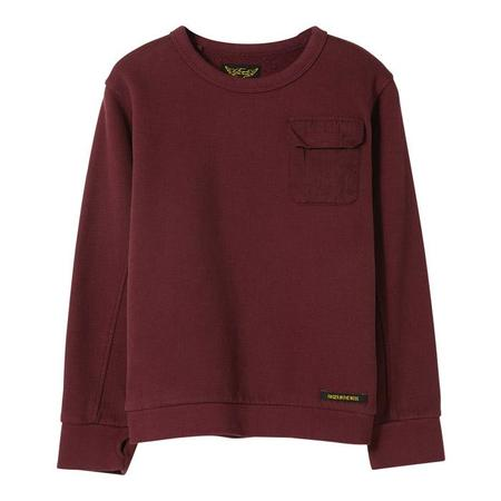 KIDS Finger In The Nose Child Brian Knitted Crew Neck Sweatshirt - Burgundy Red