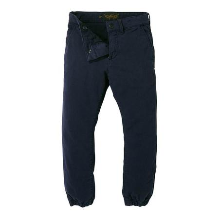 KIDS Finger In The Nose Child Skater Woven Chino Fit Pants With Elasticized Bottom - Super Navy