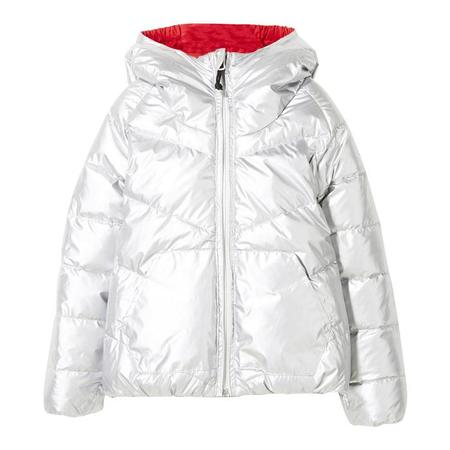 KIDS Finger In The Nose Child Snowdance Reversible Down Winter Jacket - Silver, Red And Navy Colourblock