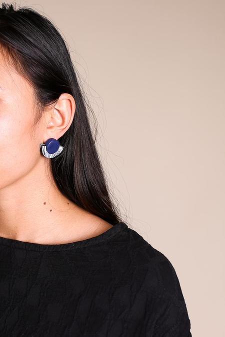 Peppertrain Kat Earrings - Navy Black White