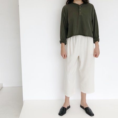 Laurs Kemp Raw Silk Easy Pant - Ivory