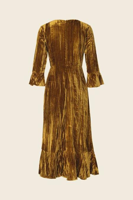 STINE GOYA Blue Velvet Dress - Golden