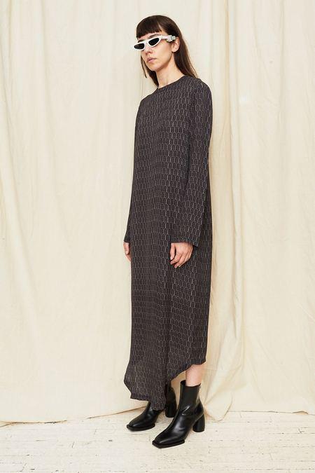 Assembly New York Silk Print Long Sleeve Bevel Dress - Navy