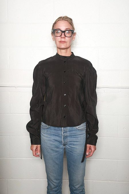 Lemaire Fitted Officer Collar Shirt - Anthracite