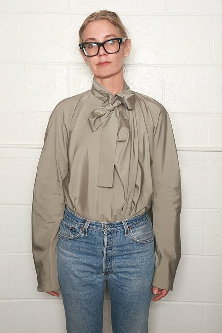 Lemaire Long Sleeve Top with Tie - Cafe Au Lait