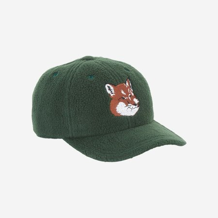 Kitsune Fox Head 6P Cap - Dark Green