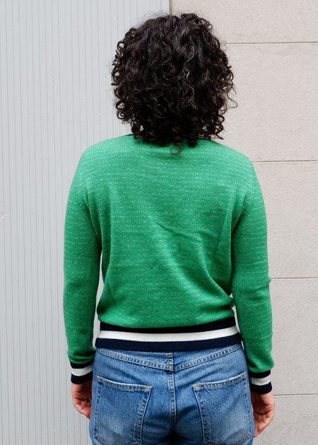 Jumper 1234 Collegiate Stripe Crew Sweater - Bright Green