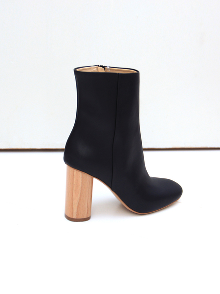 Sydney Brown High Ankle Boot - Black Faux Nappa