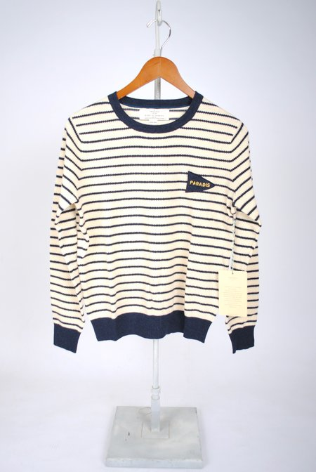 Birds of Paradis Claire Crewneck Sweater - Antique White/Navy