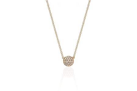 EF Collection Mini Diamond Disc Necklace - 14k Rose Gold