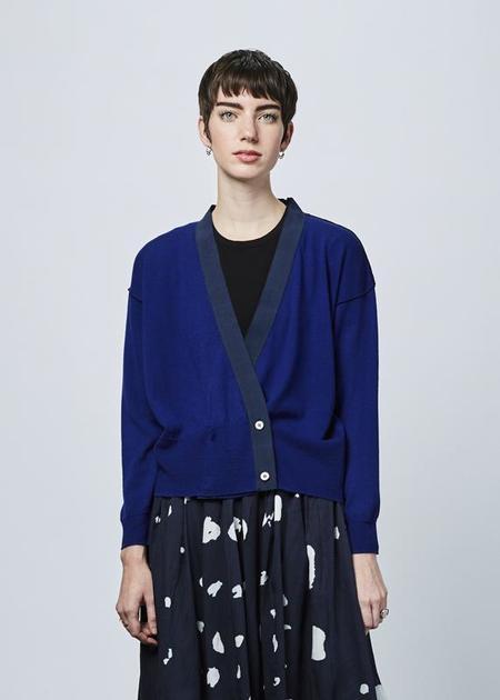 Yoshi Kondo Wood Knit Crossover Cardigan - blue