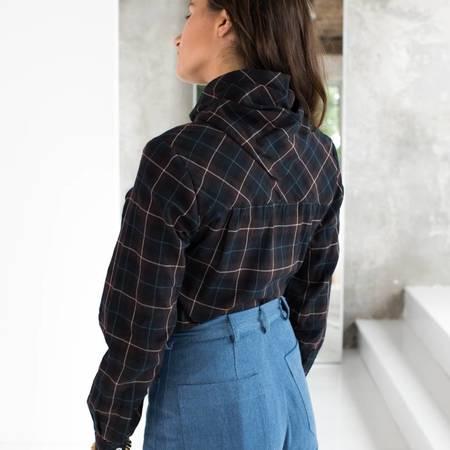 Carleen Bandana Neck Shirt - PLAID