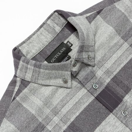 Outclass Attire Heather Flannel Shirt - Grey Check