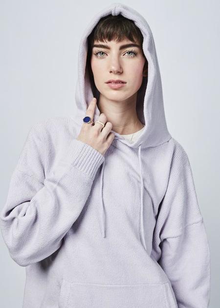 6397 Drop Shoulder Knit Hoodie - Lilac