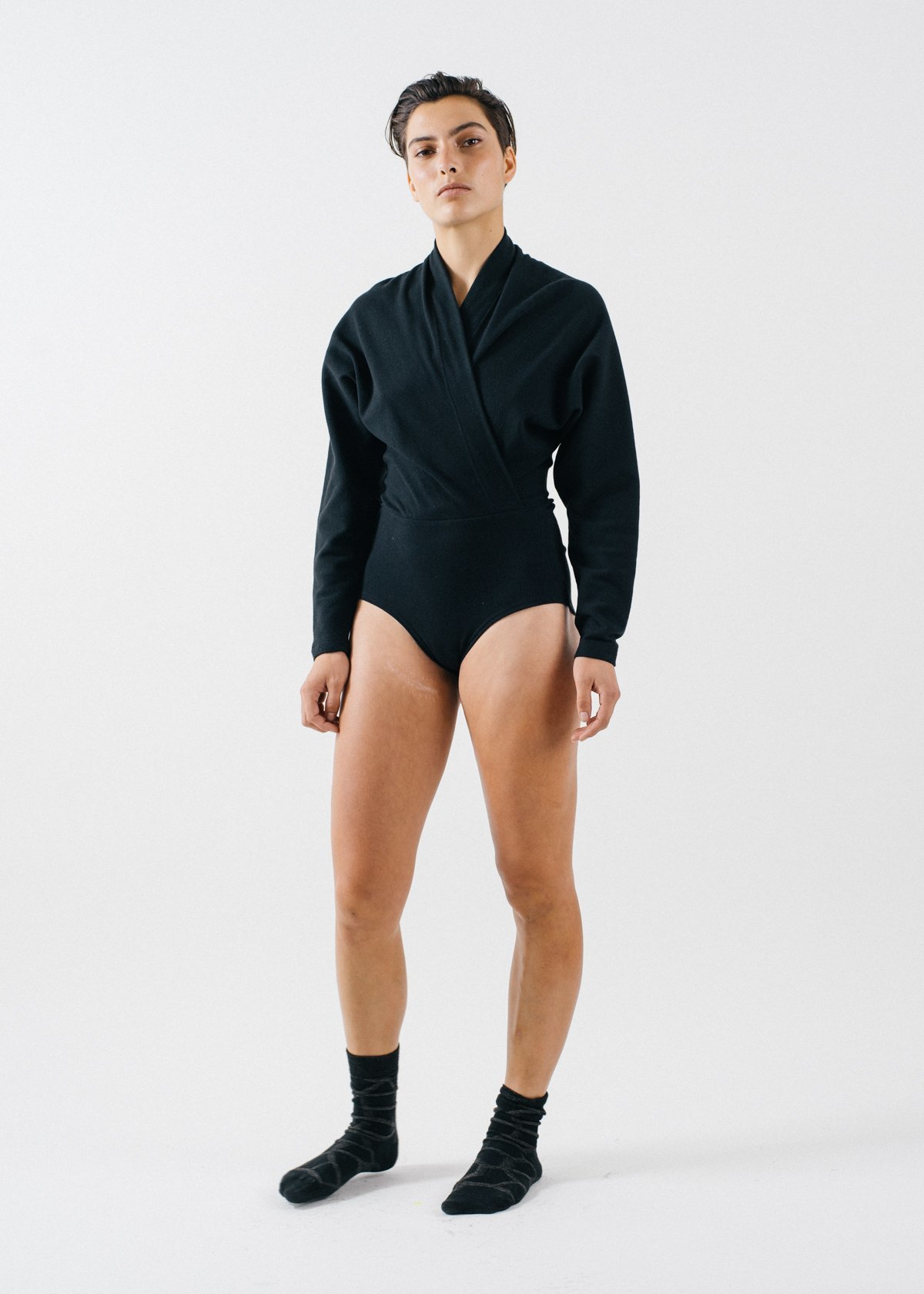 6e427e03a442 REIFhaus Nori Rib Knit Long Sleeve Bodysuit - Black | Garmentory