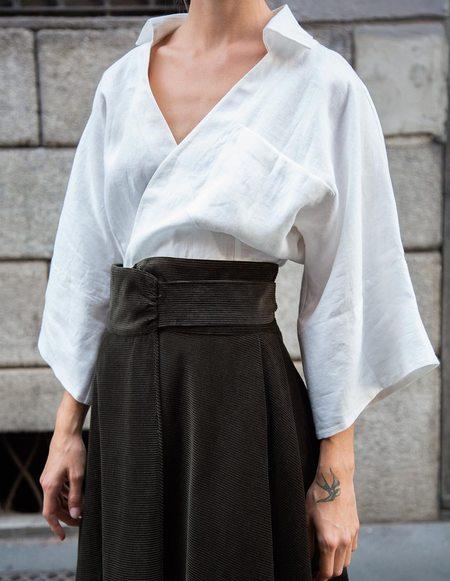Caftanii Firenze Celine Linen Chemise - White