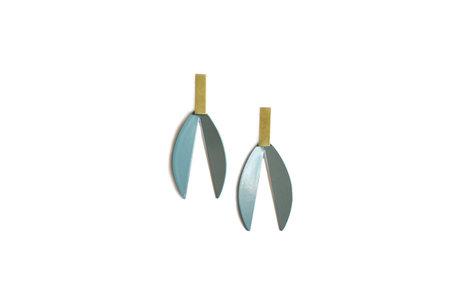 Natalie Joy Lotus Earrings - Vintage Teal/Brass