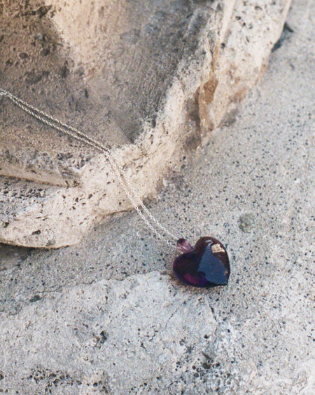 Peso Venetian Glass Heart Pendant Necklace - Amethyst