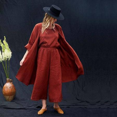Rachel Craven Long Kimono Linen Jacket - Rust