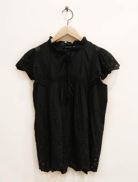 Love Sam Lila Cutout Embroidered Short Sleeve Top - Black