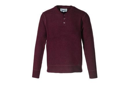 Schott Button Henley Sweater - Burgandy
