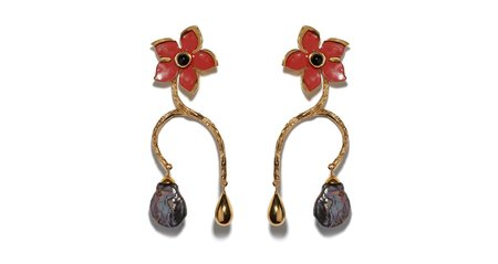 Lizzie Fortunato Poinsettia Vine Earrings - gold plated brass