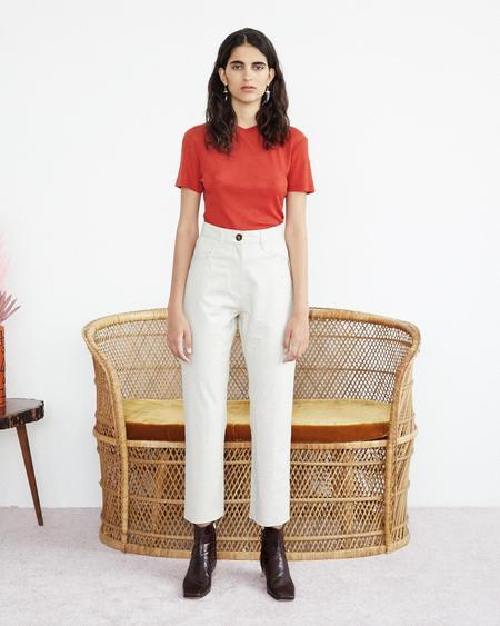 Nanushka Ivy Vegan Leather Mom Pants - Creme Croc Pattern