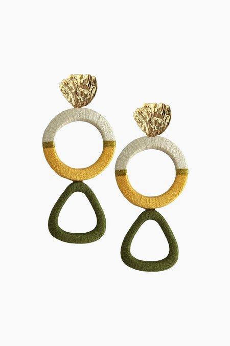 Jetlagmode Olive Geometric Earrings