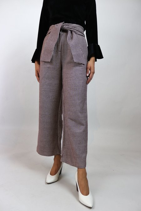 W A N T S Wool High-Waisted Pants - Maroon/White Check